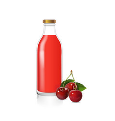 Cherry juice glass bottle and berries realistic vector