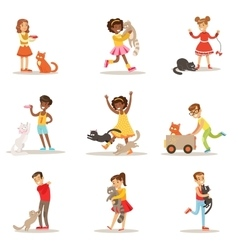 Children And Cats Set With Kids vector
