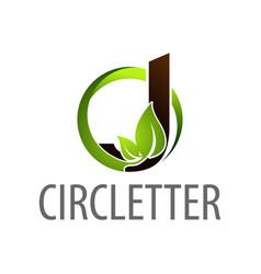 circle leaf initial letter j logo concept design vector image