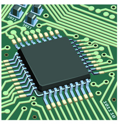 circuit chip on board vector image