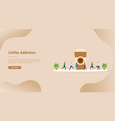 Coffee lover or addiction for website template or vector