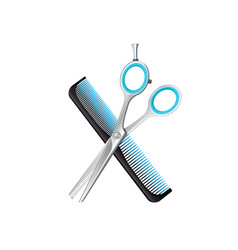 Crossed comb and scissors composition vector