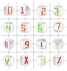 Cube font - figures and signs vector