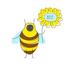 Cute cartoon concept with funny bug bee flower vector