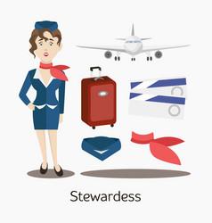 Cute stewardess standing vector