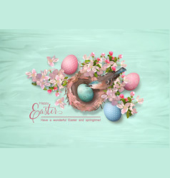Easter bird and nest vector