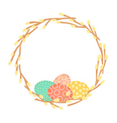 easter wreath made willow branches and painted vector image