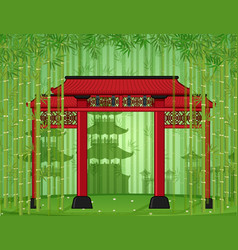 Entrance door in bamboo forest vector
