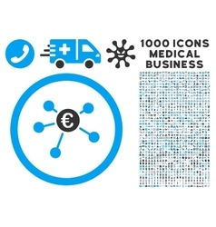 Euro Payments Icon with 1000 Medical Business vector image