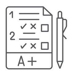 exam thin line icon questionnaire and form task vector image