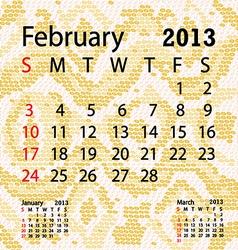 February 2013 calendar albino snake skin vector
