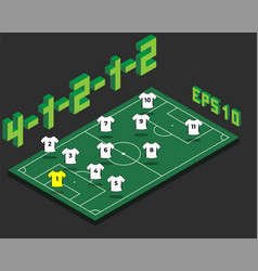 football 4-1-2-1-2 formation with isometric field vector image