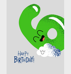 Funny happy birthday gift card number 6 balloon vector