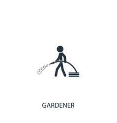 Gardener with watering hose icon simple gardening vector
