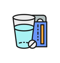 glass water and pills medicine flat color line vector image