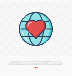 globe with heart thin line icon vector image