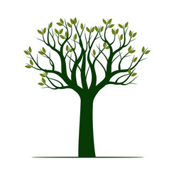 Green tree with leaves outline vector