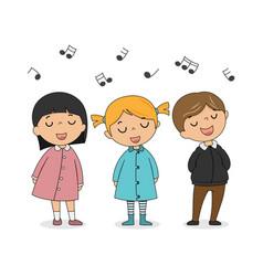 group children singing vector image
