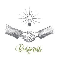 Hand drawn handshake with business idea lettering vector image