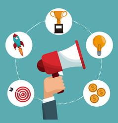 Hand hold speaker digital marketing items vector