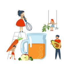 happy family cooking together a healthy smoothie vector image