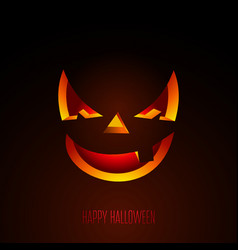 happy halloween with creepy pumpkin face on dark vector image
