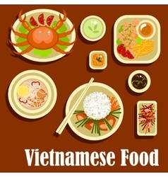 Healthy dishes flat icons vietnamese cuisine vector