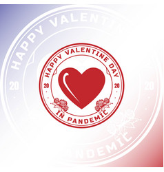 heart love happy valentine stamp label logo design vector image