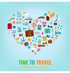 Heart silhouette with travel flat icons Travel vector image