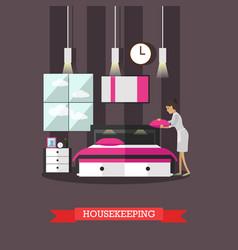 Hotel housekeeping in flat vector