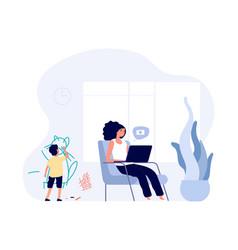 internet addiction mom surfs vector image