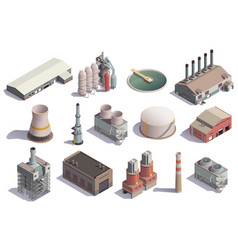 isolated industrial buildings collection vector image