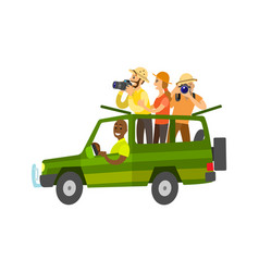 journey in vehicle people making photos vector image