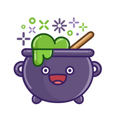 kawaii smiling halloween witch cauldron cartoon vector image