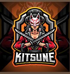 kitsune girl esport mascot logo design vector image