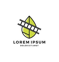 leaf film reel mint nature organic logo icon vector image