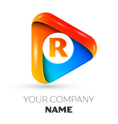 Letter r symbol in the colorful triangle vector
