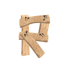 Letter r wood board font plank and nails alphabet vector