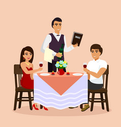 loving couple in restaurant vector image