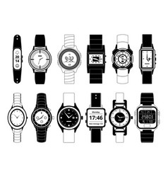 mechanical and electronic sport hand watches in vector image
