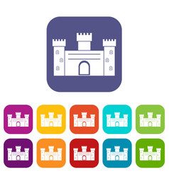 Medieval fortification icons set flat vector