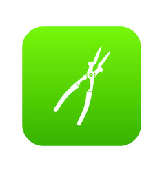 metal welder pliers icon digital green vector image