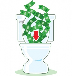 Money down the toilet vector