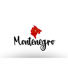 Montenegro country big text with flag inside map vector