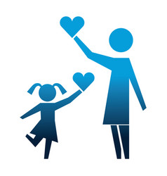 mother and daughter with hearts silhouette icon vector image