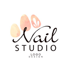 Nail studio logo design element for nail bar vector
