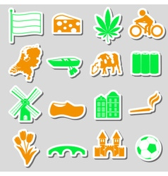 Netherlands country theme color stickers set eps10 vector image