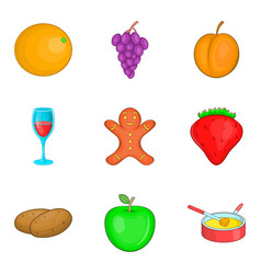 Night snack icons set cartoon styl vector