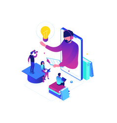 online education - modern colorful isometric vector image