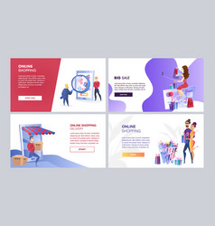Online marketing set of color templates vector